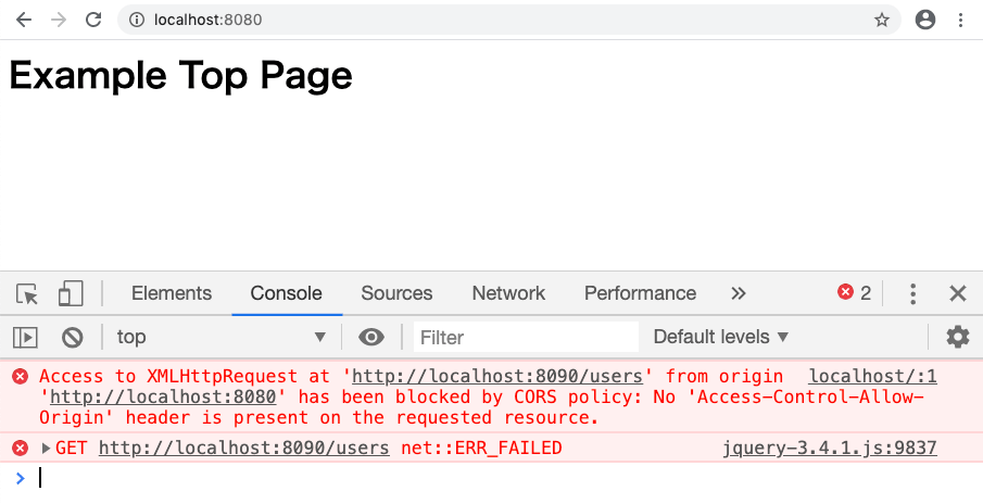 Webブラウザのコンソールで「Access to XMLHttpRequest at ○○○ from origin ●●● has been block by CORS policy: No 'Access-Control-Allow-Origin' header is present on the requested resource.」というエラーが発生します。